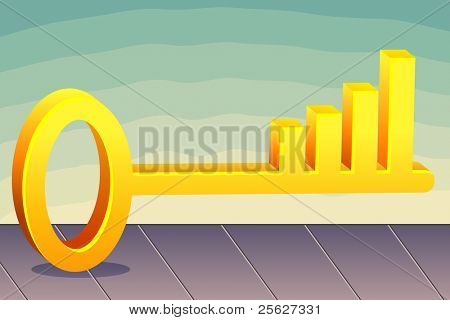 illustration of bar graph in key on abstract background