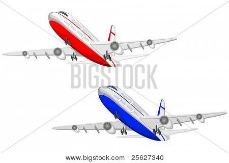 illustration of flying airplane on white background