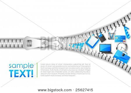 illustration of office element coming out of zipper