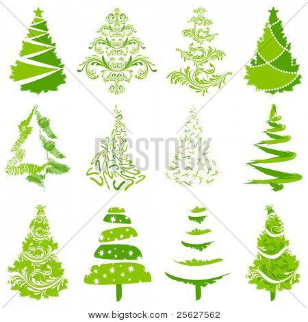 illustration of set of different style christmas tree