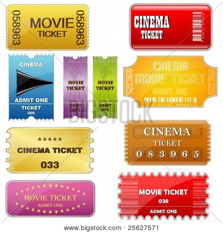 illustration of set of colorful movie ticket in different style