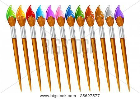 illustration of set of paint brush with different color