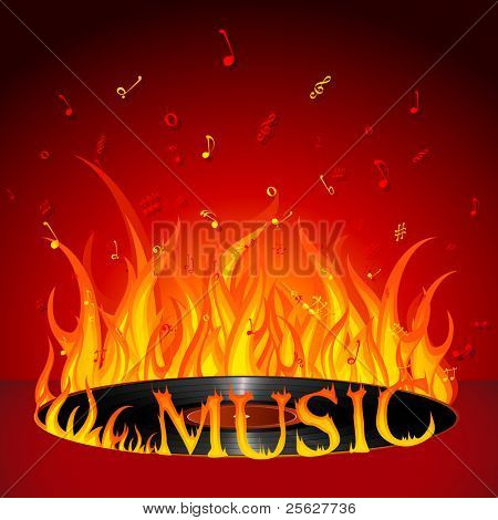 illustration of fiery music on burning disc