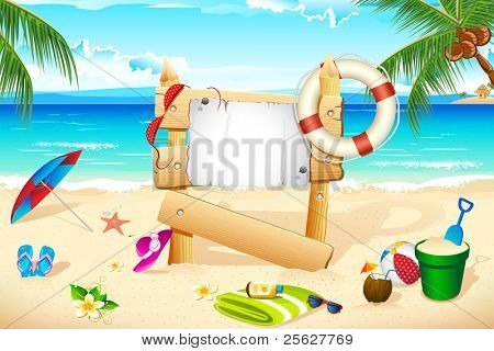 illustration of lifebouy and other beach elements on sea shore