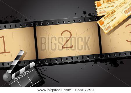 Ilustración de carrete de película con billete de tablero y película de badajo