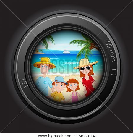 illustration of family peeping through camera lens in sea beach