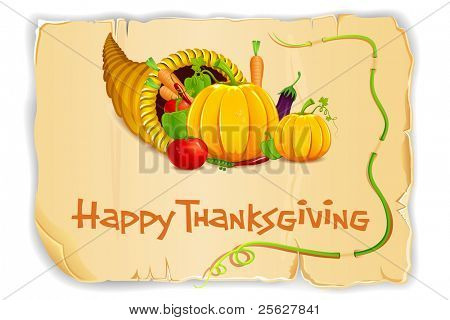 illustration of fruits and vegetable in cornucopia on old paper card for thanksgiving