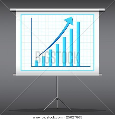 illustration of office presentation of bar graph on flex screen