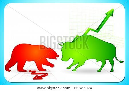 illustration of bull and bear on graph showing bullish and bearish market
