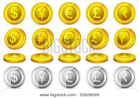 illustration of gold and silver coin of different currency in different perspective