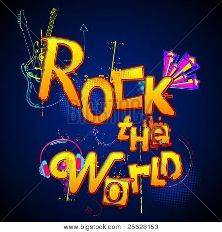 illustration of musical background with text rock the world