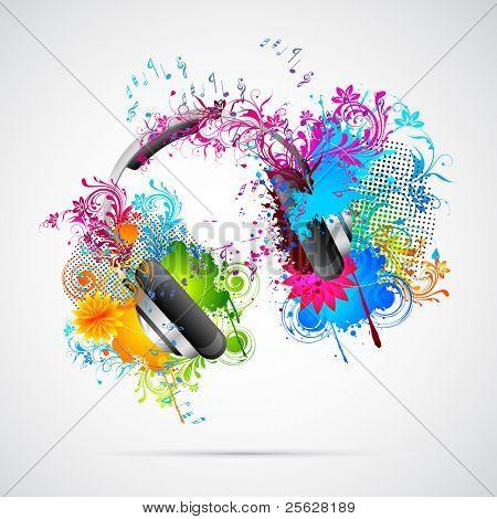 Abbildung des Kopfhörers mit abstract grunge floral element