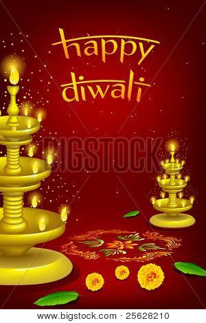 illustration of diwali diya stand with rangoli decoration