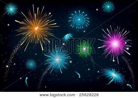 Ilustración de fuego colorida explosión de cracker en cielo