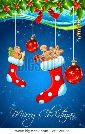 illustration of christmas goodies stuffed in santa stocking