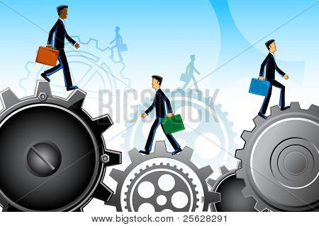 illustration of business people moving on gear