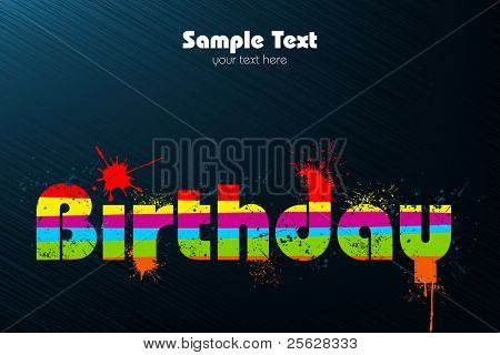illustration of birthday in multicolor splash on abstract background