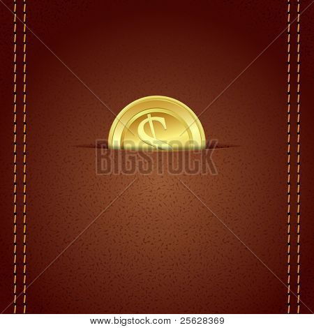 illustration of gold coin in leather wallet with stitched border