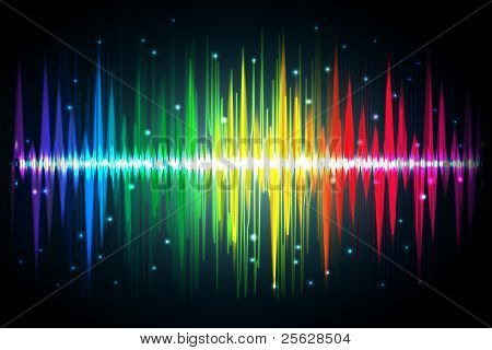 illustration of spectrum of volume waves on abstract background