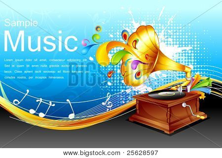 illustration of antique gramophone on abstract floral  background