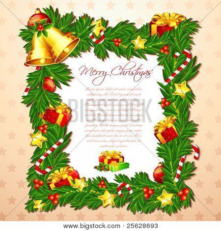 Ilustración de la tarjeta de Navidad con marco decorado y bell