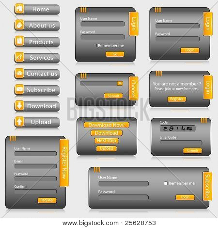 illustration of set of web templates with login,registration and sign up forms