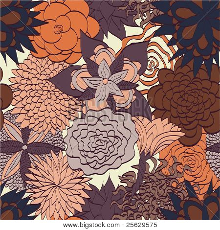 Hand drawn floral pattern. Seamless