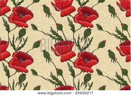 Seamless beautiful floral pattern with red poppies. Could be used as wallpaper, textile, background, wrapping paper, etc