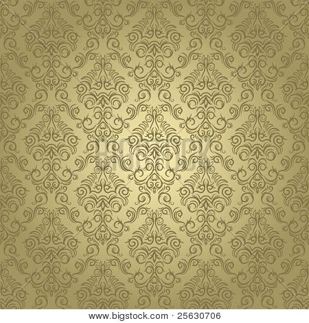 Damask seamless pattern on gradient background. Could be used as repeating wallpaper, textile, wrapping paper, background, etc.