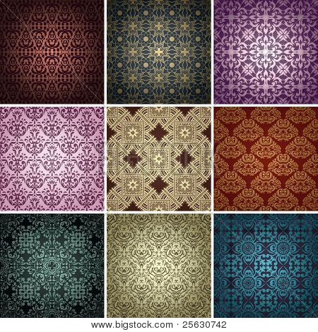 Satz von 9 seamless Patterns. Vektor