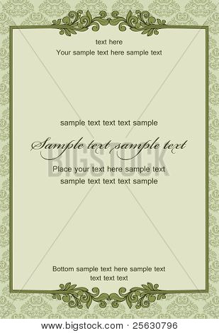 Vintage frame on damask seamless background. Could be used for invitation, certificate or diploma