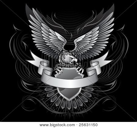 Wild Eagle auf dem Schild mit einem Streifen vorne für Titel auf schwarzem Hintergrund