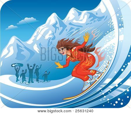 Smiling young women snowboarding