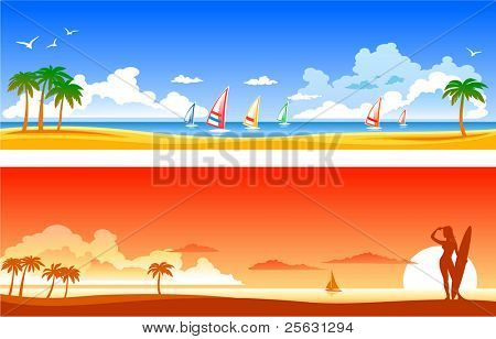 Two vector  beach landscapes
