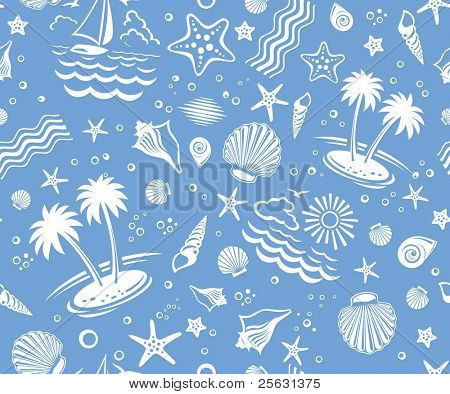 Seamless Beach Vector 2-color Pattern with sand, palms, stars and shells