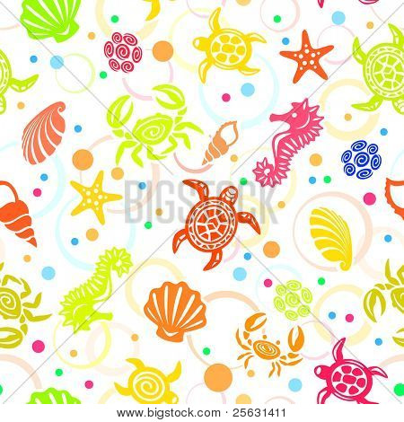 Seamless Sea Life Pattern