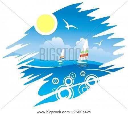 Tropical Sea with Windsurf