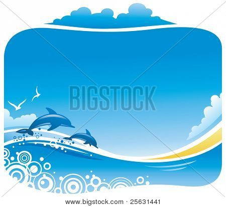 Tropical Beach with Dolphins