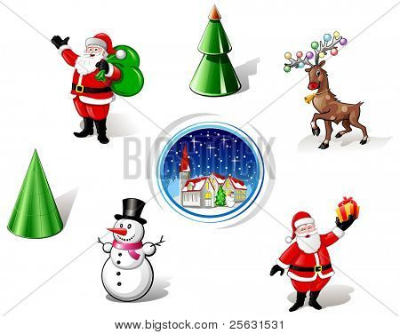 Christmas Santa, Snowman and Deer Iconset