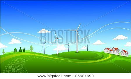 Paisaje de verano con molinos de viento