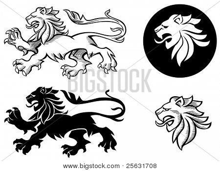 heraldische Löwe Silhouetten