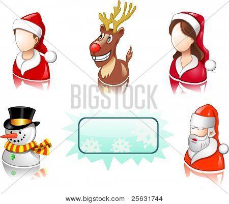 Christmas icon set with users, santa and deer