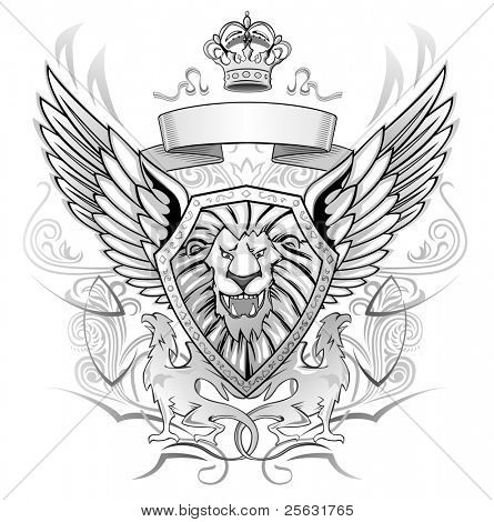 Black and Gray Emblem of mystery roaring winged lion on shield