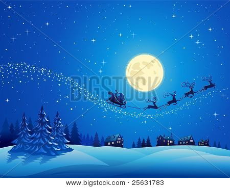 Santa Into the Winter Christmas Night