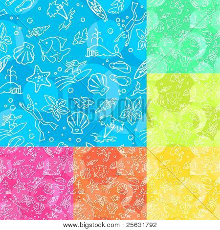Seamless Vector Pattern with palms, fishes, shells and stars