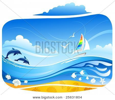 Sailing yacht in tropical sea with dolphins and birds