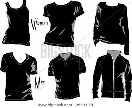 T-shirt template/mockup for designs in vector format. Colors are easily modified, shadows can be hidden, each t-shirt on a separate layer with a sublayer where you may place your own design.