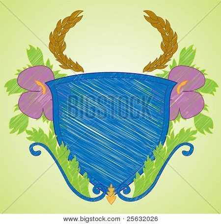 Sketch like illustration of a shield with flourishes. Radial background can be easily removed. All elements in illustration are isolated on separate layers. EPS 8.