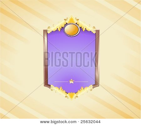 Gold and wooden shield with a wide blank space for your own text or illustration. Clipping masks used. Linear and Radial gradients.