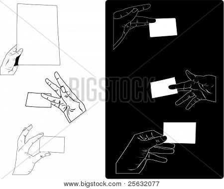 White and black hands holding paper sheet and business card. Good for illustrating anything related to communication, business or the office environement.